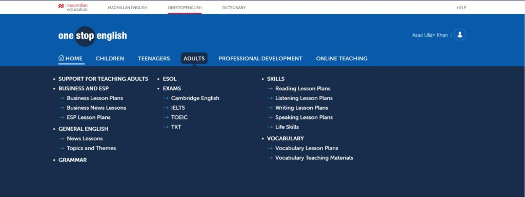 OneStopEnglish Website Interface